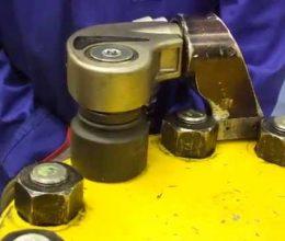 Worker repairing SPX bolting equipment